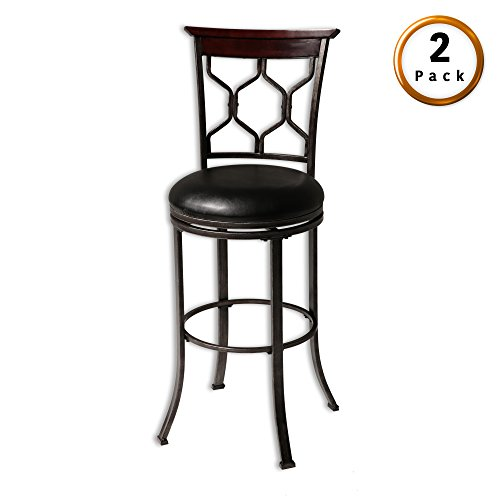 Cheap Fashion Bed Group Tallahassee Swivel Seat Counter Stool with Heritage Silver Finished Metal Frame and Black Faux Leather Upholstery, 26-Inch Seat Height, 2-Pack