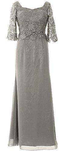 MACloth of Half Bride Sleeve Silber Dress Maxi Formal Evening the Gown Mother Women ar8qa