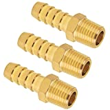 Brass Hose Fitting, SUNGATOR Hose Barb Adapter, 3/8-Inch Barb x 1/4-Inch NPT Male Pipe, Male Threaded End (3-Pack)