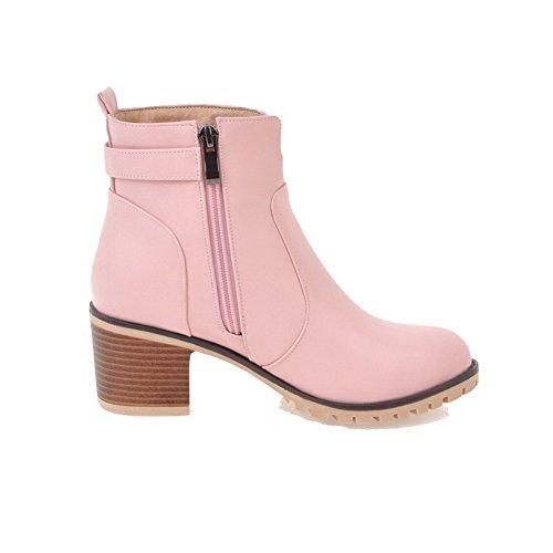 AllhqFashion Damen Mittler Absatz Rein Rund Zehe Blend-Materialien Ziehen auf Stiefel, Pink, 42