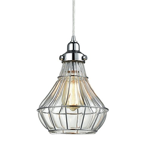 Framed Glass Pendant (Dazhuan Vintage Wire & Clear Glass Pendant Light Hanging Ceiling Lighting Chrome Finish Lamp)