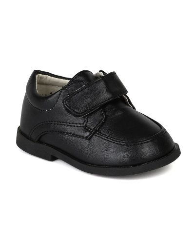 Auston AH58 Leatherette Velcro Strap School Dress Shoe (Infant / Toddler Boys) - Black (Size: Infant 3)