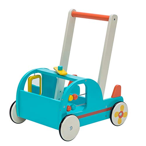 Children 2-in-1 Little Blue Aircraft Wooden Push Walker Toddler Push & Pull Toys Activity Walker Stroller Walker Toy Wagon with Wheels for Baby Girls Boys 1-3 Years Old