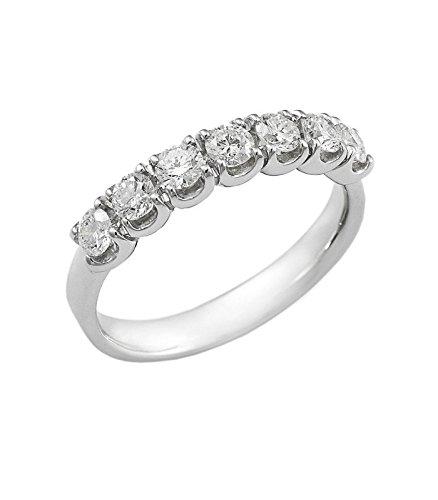 5ef85dc6404c13 Anello Veretta a 7 pietre in Oro bianco 18k con diamanti ct. 0,70:  Amazon.it: Gioielli