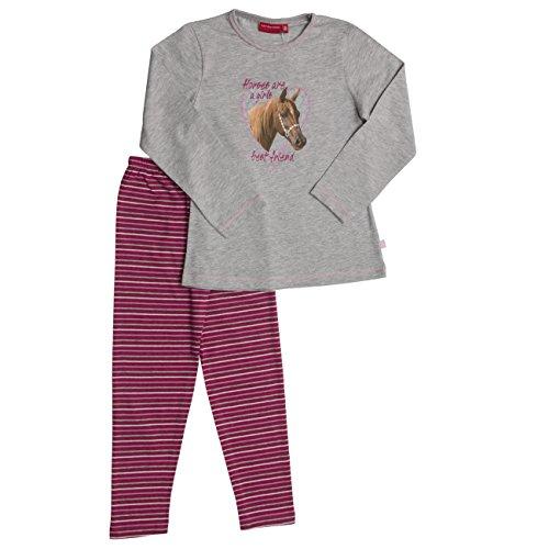 SALT AND PEPPER Mädchen Zweiteiliger Schlafanzug Pyjama-Paket, Grau (Grey Melange 23290-203), 128 (Herstellergröße: 128/134)