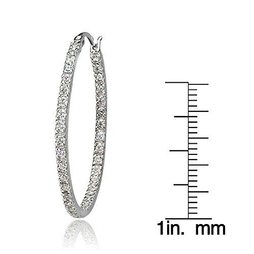 Anneaux et Boucles en argent sterling 925oxyde de zirconium à l'intérieur de 35mm-Boucles d'Oreilles Créoles Femme-Rond