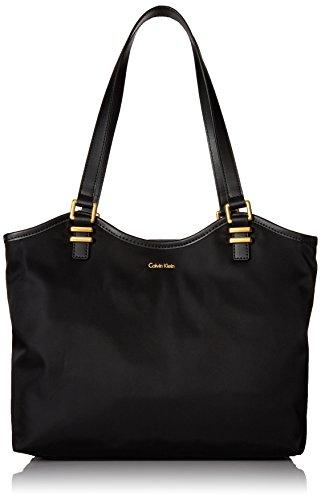 Calvin Klein Bailey Nylon North/South Tote, Black/Gold Calvin Klein Nylon Tote
