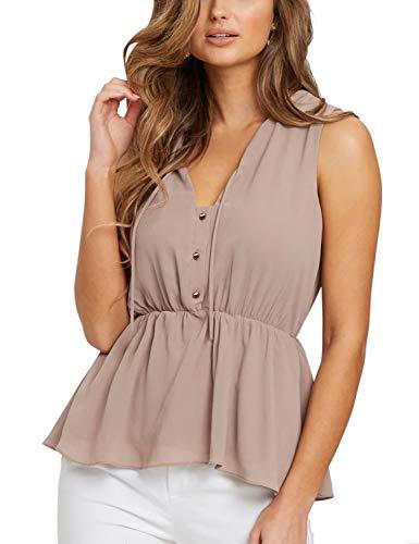 (Blooming Jelly Womens Sleeveless Shirt V Neck Button Down Peplum Ruffle Chiffon Blouse Tank Tops(M,Light)
