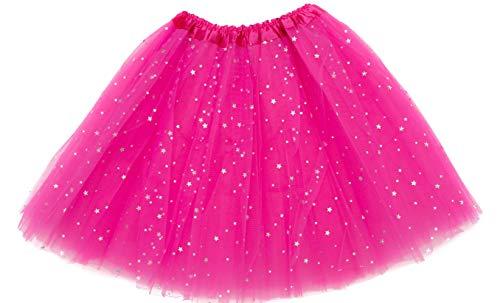 IngridElizabeth Adult Sparkle Tutu 4-Layer Teen Girl Sparkly Skirt for Women (Hot Pink)