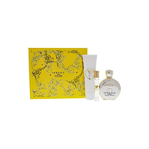 Versace Versace Eros Pour Femme By Versace for Women - 3 Pc Gift Set 3.4oz Edp Spray, 10ml Edp Rollerball, 5.0oz Luxury Body Lotion, ()