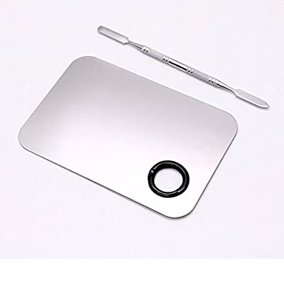 """HUELE 5""""3"""" Makeup Palette Cosmetic Palette with Spatula Tool(Stainless Steel, Silver"""