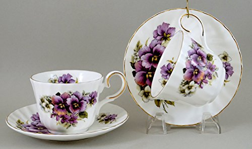 PURPLE PANSY - SET OF 2, Elegant Tea Cup and Saucer, Fine Bone China - Made in England