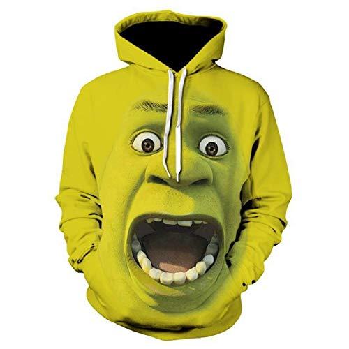 PONGONE Funny Shrek 3D Hoodie Pullover Casual Long Sleeve Hooded Sweatshirt 2XL Green -
