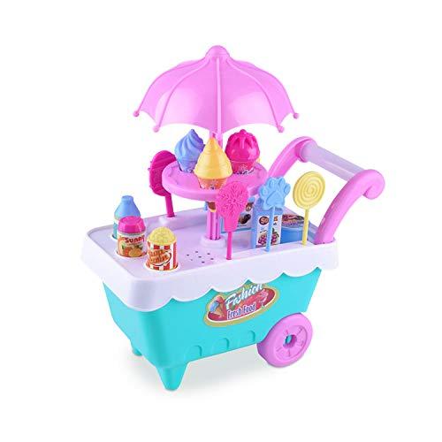 16 pcs Food Dessert Trolley Set Ice Cream Cart Sweet Shop Children Candy Cart -
