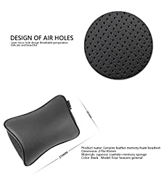 Aukee Car Headrest Pillow with Genuine Leather Memory Foam Supplier Brown ( Pack of 2 )