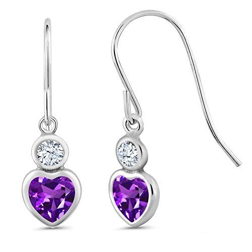Gem Stone King 1.02 Ct Heart Shape Purple Amethyst 925 Sterling Silver Earrings