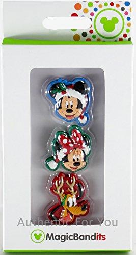 Disney Parks Santa Mickey, Minnie, Pluto Christmas Set 3 MagicBandits Magic Band Bandits