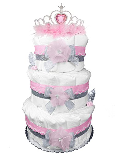 (Pink and Gray 3-Tier Princess Diaper Cake - Baby Shower Gift - Centerpiece)