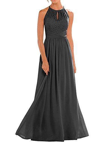 Black High Neckline Halter Lace Bridesmaid Dresses A-line Chiffon Floor-Length Wedding Party Prom Dresses US4 Size