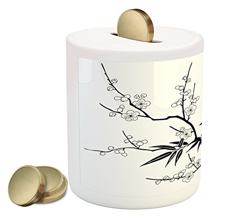 (Lunarable Modern Piggy Bank, Japanese Cherry Blossoms Asian Tree Branches with Flowers Leaves Image Print, Printed Ceramic Coin Bank Money Box for Cash Saving, Black and White)
