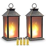 zkee 13'' Vintage Style Decorative Lantern,Flickering Flame Effect LED Tabletop Lantern(Black,4 Hours Timer Batteries Included) Indoor/Outdoor Hanging Lantern,Decorative candle Lantern (Set of 2)