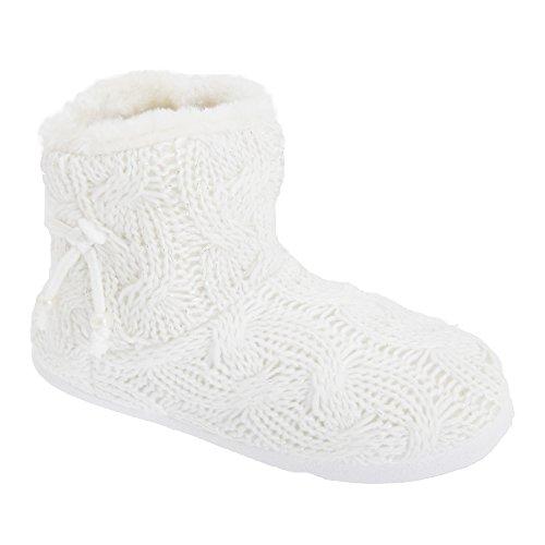Zapatillas de estar por casa de punto con interior de pelo para mujer Blanco
