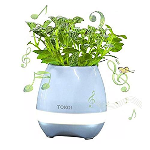 JULED Music Flowerpot, Touch Plant Piano Music Playing Flowerpot Smart Multi-color LED Light Round Plant Pots Bluetooth Wireless Speaker whitout Plants (Blue)