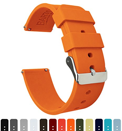 BARTON Silicone Quick Release - 24mm Width - Choice of Color - Pumpkin Orange 24mm Band