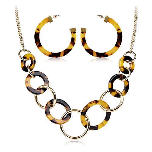 LCZTN Acrylic Tortoise Necklace and Earring Set for Women Resin Statement Accessories Girls Jewelry Set Gift(Tortoiseshell 01#)