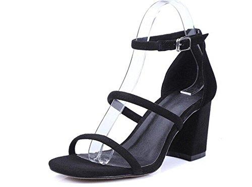 Beauqueen Peep toe Pumps Sandalias de trabajo casual WomeAnkle Strap Chunky Low Heel Elegante caqui Negro Europe Tamaño 34-39 Black