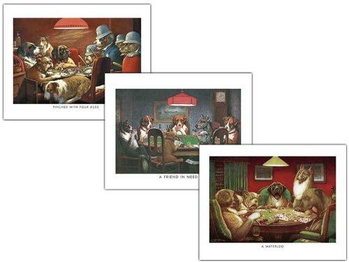 wallsthatspeak 3 Dogs Playing Poker Posters Classic Americana Game Room Art Prints, 8 x 10-Inch, Red/Black/Green by wallsthatspeak