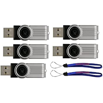 Kingston (TM) Digital 16GB DataTraveler 101 G2 USB 2.0 Drive - Black (DT101G2/16GB) 16GB (5 pack) Flash Drive - Five Pack w/ (2) Everything But Stromboli (TM) Lanyard
