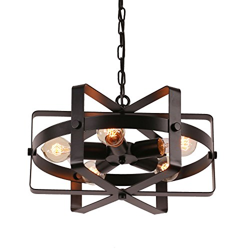 Bulb Light Foyer (Unitary Brand Antique Black Metal Drum Shape Round Pendant Light with 5 E26 Bulb Sockets 200W Painted Finish)