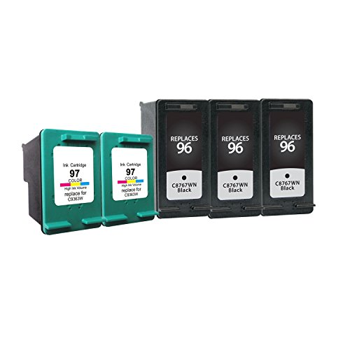 Generic Remanufactured Ink Cartridge Replacement for HP 97 HP 96 3x C8767WN+2x C9363WN (3 Black 2 (C9363wn Color Ink)