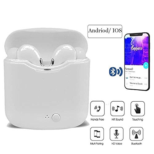 Susens Bluetooth Headphones, Mini Wireless Earbuds with Mic, Stereo Noise Cancelling in-Ear Earphones with Charging Case for iPhone, iPad, Samsung, PC (White)