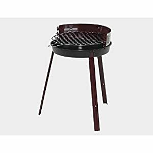 Barbacoa redonda (Diámetro de 37cm, Negro de chapa de acero