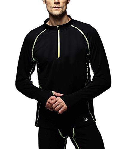 Outto Men's Thermal Underwear Fleece Lined Midweight Baselayer Layered Shirt 1/4 Zip Neck Top(XX-Large,120Y Fluorescent Green)