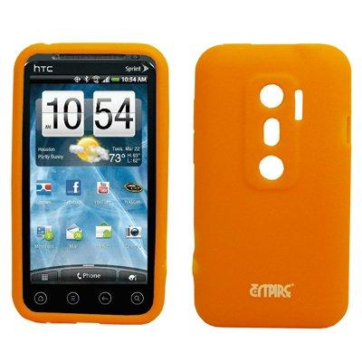 EMPIRE Orange Silicone Skin Case Étui Coque Cover Couverture for Sprint HTC EVO 3D