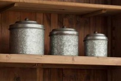 Antique Style Galvanized Tin Canister Set by Park Hill by Park Hill Collection