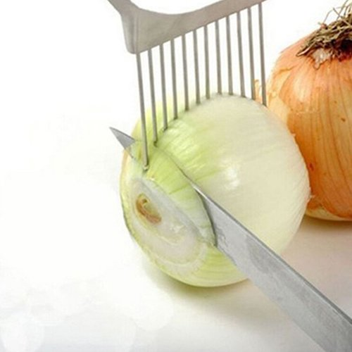 Everyday Kitchen Gadget Hot Stainless Steel Onion Holder Slicer Vegetable Cutter Tool