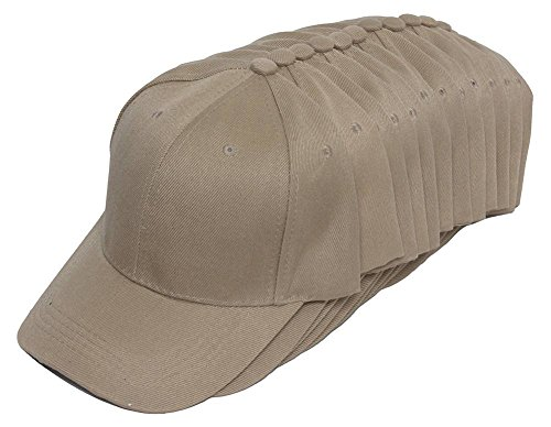 TopHeadwear 12-Pack Adjustable Baseball Hat - Tan