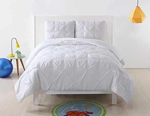 My World LHK-COMFORTERSET Pleated Solid White Twin XL Comforter Set, X-Large (Pem America Twin Bedding)