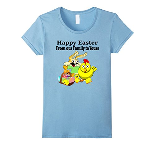[Women's Happy Easter From Our Family To Yours Family Matching Shirts Large Baby Blue] (Social Media Sites Costumes)
