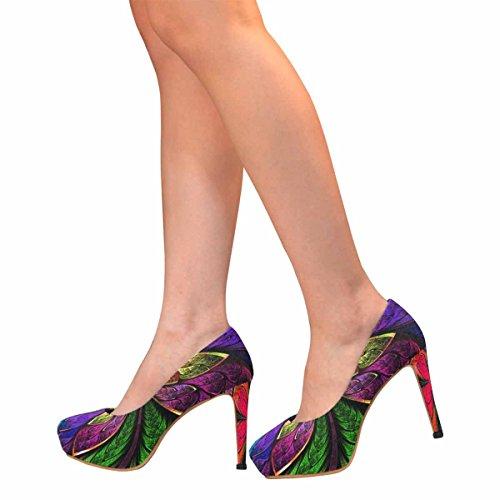 Pumps Di Piattaforma Di Tacco Alto Di Moda Classica Donna Di Interesse Modello Multicolore Simmetrico Frattale Come Fiore O Farfalla In Stile Finestra Di Vetro Colorato