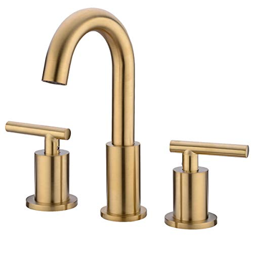 (TRUSTMI 2 Handle 8 Inch Brass Bathroom Sink Faucet 3 Hole Widespread with Valve and cUPC Water Supply Hoses, Brushed Gold, Not Included Drain )