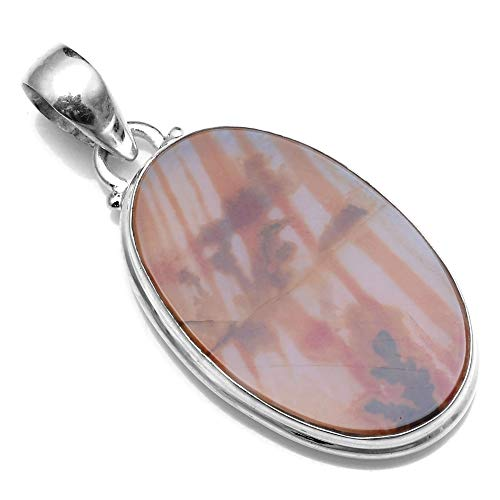 Silver Palace 925 Sterling Silver Natural Dendritic Agate Pendants for Women and Girls