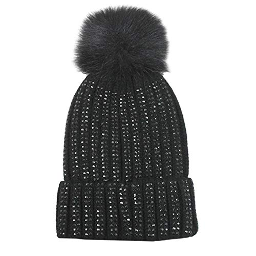 D&Y Women's David & Young Bling Knitted Beanie with Pom – DiZiSports Store
