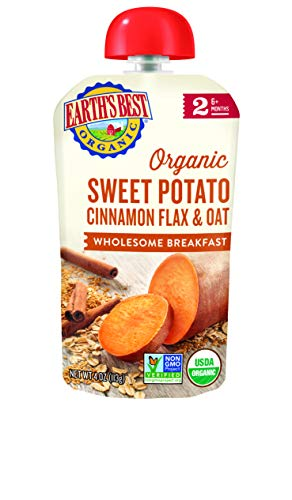 Earth's Best Earth's Best Organic Stage 2 Baby Food, Wholesome Breakfast Sweet Potato, Cinnamon, Flax and Oat, 4 Ounce Pouch (4 Packs of 4 Pouches), 4 Count Earths Best Wholesome Breakfast