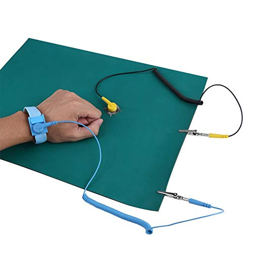 CLAUKING ESD Mat Kit,Anti-Static Wrist Strap Ground Wire Mat Set with Electrostatic Mat,Anti Static Strap and Grounding Cord for Phone Repair