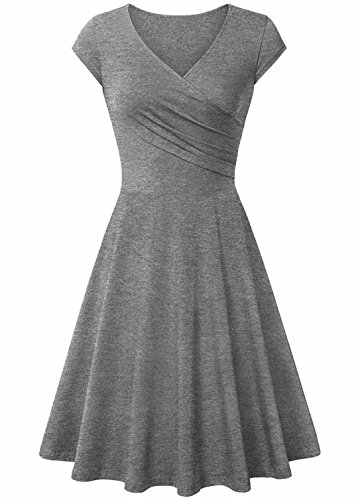 Hawa eye Swing Dresses Womens Crossover Neckline Empire Waist Outdoor Cocktail Party Dress Elegant Slim Fit Classical Homecoming Sheath Dress Grey Large ()